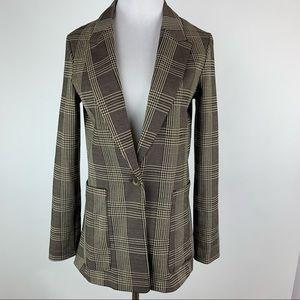 H&M Brown Plaid One Button Blazer Sz 2